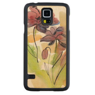 Floral summer design with hand-painted abstract 2 carved maple galaxy s5 case