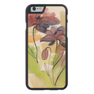 Floral summer design with hand-painted abstract 2 carved® maple iPhone 6 slim case
