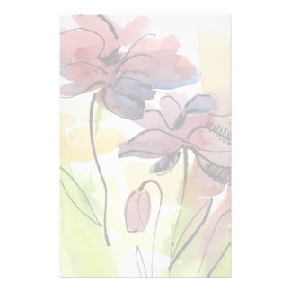 Floral summer design with hand-painted abstract 2 customized stationery