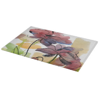 Floral summer design with hand-painted abstract 2 cutting board