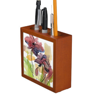 Floral summer design with hand-painted abstract 2 desk organiser