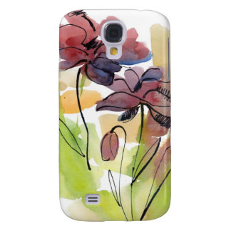 Floral summer design with hand-painted abstract 2 galaxy s4 case