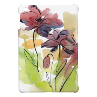 Floral summer design with hand-painted abstract 2 iPad mini case