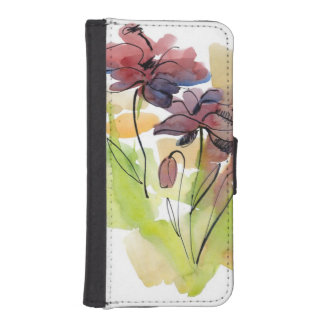 Floral summer design with hand-painted abstract 2 iPhone SE/5/5s wallet case