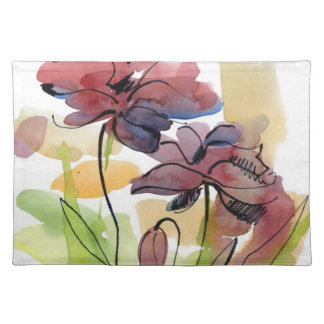 Floral summer design with hand-painted abstract 2 placemat