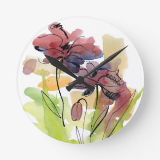 Floral summer design with hand-painted abstract 2 round clock