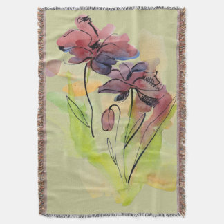 Floral summer design with hand-painted abstract 2 throw blanket