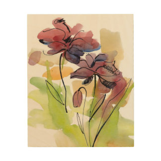 Floral summer design with hand-painted abstract 2 wood wall decor