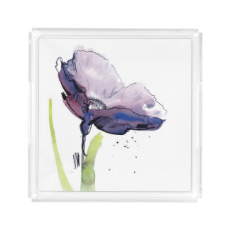 Floral summer design with hand-painted abstract acrylic tray
