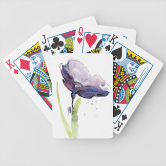Floral summer design with hand-painted abstract bicycle playing cards