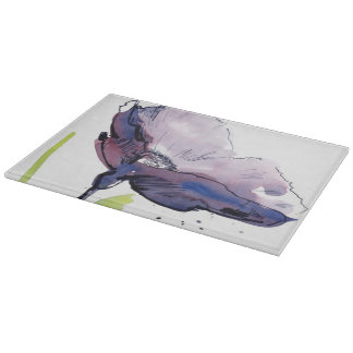 Floral summer design with hand-painted abstract cutting board