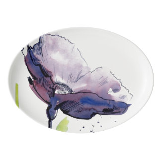Floral summer design with hand-painted abstract porcelain serving platter
