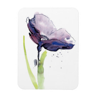 Floral summer design with hand-painted abstract rectangular photo magnet