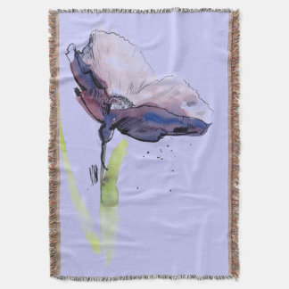 Floral summer design with hand-painted abstract throw blanket
