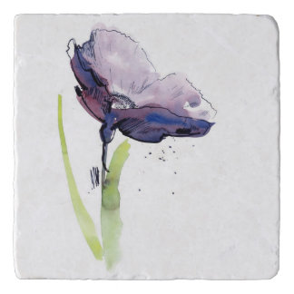Floral summer design with hand-painted abstract trivet