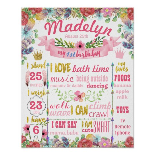 Floral Summer First Birthday Party sign poster