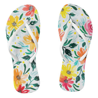 Floral Summery Watercolor Flowers Illustration Flip Flops