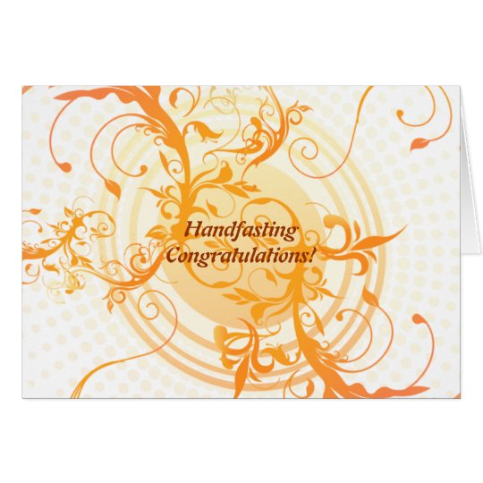 Floral Sun Pagan Wedding Congratulations Card