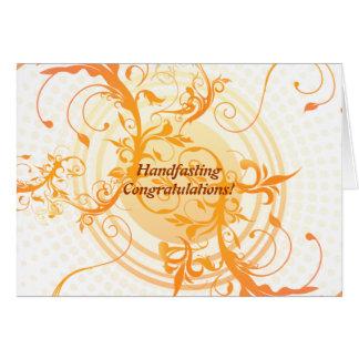 Floral Sun Pagan Wedding Congratulations Greeting Card