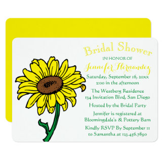 Floral Sunflower Bridal Shower Yellow & Green Card