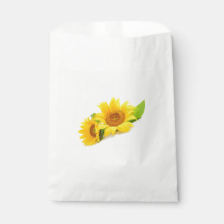 Floral Sunflower Green & Yellow Wedding Flower Favour Bags