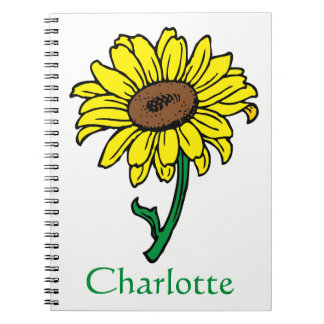 Floral Sunflower Yellow Green Flowers Personalized Spiral Notebook