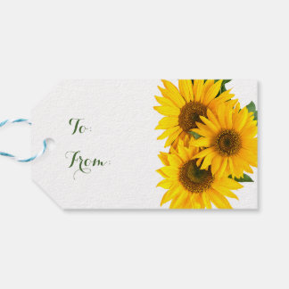 Floral Sunflower Yellow & Green Flowers Rustic Gift Tags