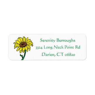 Floral Sunflower Yellow & Green Flowers Wedding Return Address Label
