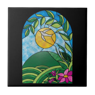 Floral Sunlight Vintage Stained Glass Style Tile