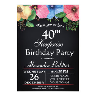 FLORAL SURPRISE BIRTHDAY PARTY INVITATION