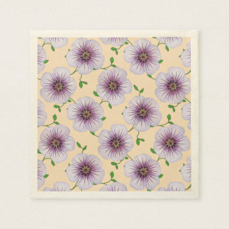 Floral Sweet Purple Garden Flowers on any Color Paper Napkins