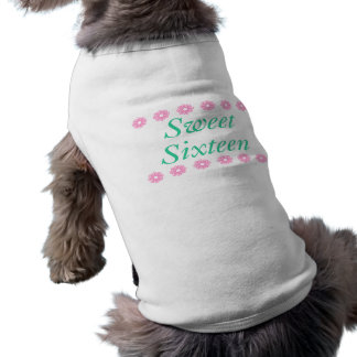 Floral Sweet Sixteen Birthday Gifts Sleeveless Dog Shirt