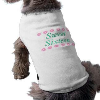Floral Sweet Sixteen Birthday Gifts Sleeveless Dog Shirt