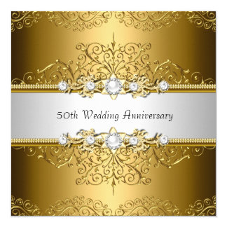 Floral Swirl 50th Wedding Anniversary Invite
