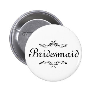 Floral Swirl Border Bridesmaid 6 Cm Round Badge