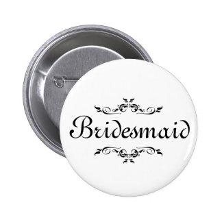 Floral Swirl Border Bridesmaid 6 Cm Round Badge