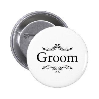 Floral Swirl Border Groom 6 Cm Round Badge