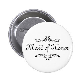Floral Swirl Border Maid of Honor 6 Cm Round Badge