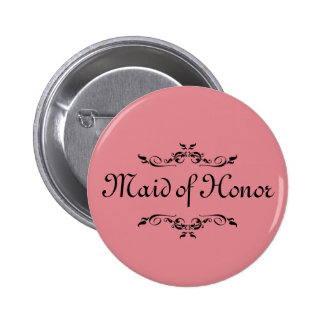 Floral Swirl Border Pink Maid of Honor 6 Cm Round Badge