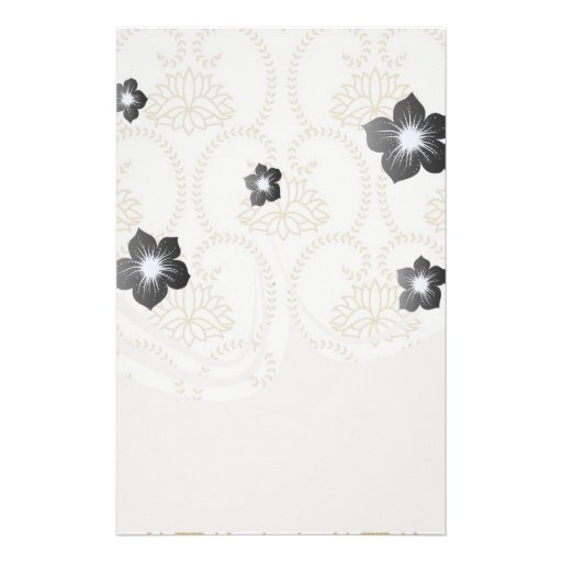 floral swirl dainty lotus damask pattern personalized stationery
