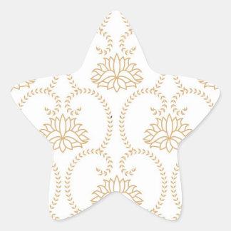 floral swirl dainty lotus damask pattern star sticker