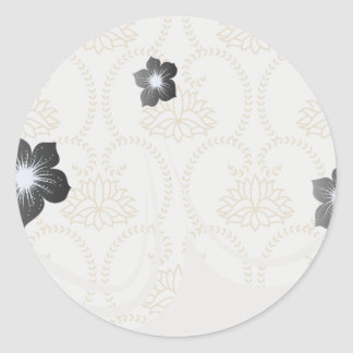 floral swirl dainty lotus damask pattern round stickers