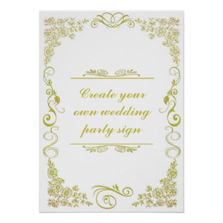 Floral Swirl Decorative Border Wedding Party Sign