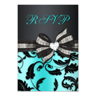 Floral Swirl RSVP With Jeweled Bow 9 Cm X 13 Cm Invitation Card
