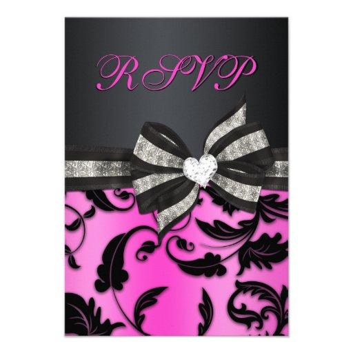 Floral Swirl RSVP With Jeweled Bow Custom Invitation