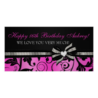 Floral Swirl Sweet Sixteen Banner Poster
