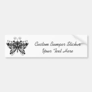 Floral Swirls Butterfly - Black & White Bumper Sticker
