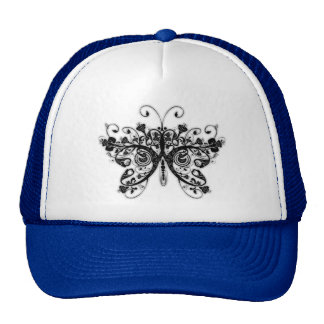 Floral Swirls Butterfly - Black & White Mesh Hat