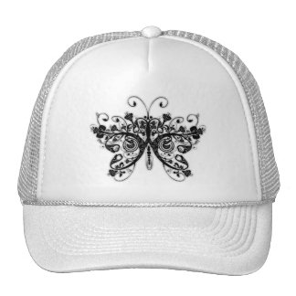 Floral Swirls Butterfly - Black & White Mesh Hats