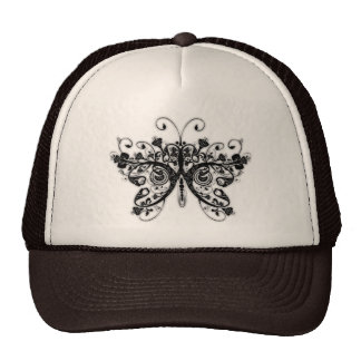 Floral Swirls Butterfly - Black & White Trucker Hats